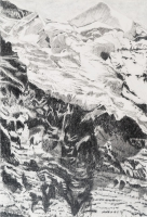 "Jungfraujoch X, graphite on paper, 44 1/2 x 30"", 2013"