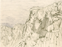"""Above Fuente De, Picos de Europa, ink, 9 x 11 1/2"""", 2016"""