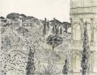 """Colosseo dalla Collina Oppiana, Roma, ink, 9 x 11 1/2"""", 2017"""