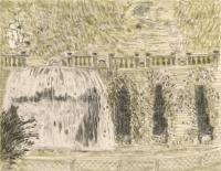"""Fontana dell'Ovato, Villa d'Este, ink, 9 x 11 1/2"""", 2017"""