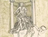 "Oceanus, Fontana di Trevi, Roma, ink, 9 x 11 1/2"", 2017"