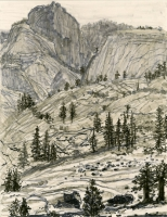 "Olmstead Point, Yosemite, ink, 11 1/2 x 9"", 2016"