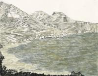 """Portixeddu, Sardegna, ink, 9 x 11 1/2"""", 2017"""