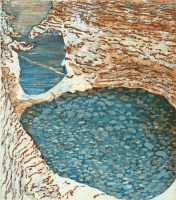 "Watkins Glen I, etching, 9 x 8"", 2002"