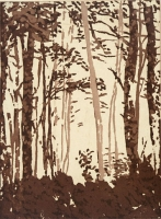 "Appalachian Trail, North Carolina, etching, chine colle, 8 x 6"", 2000"