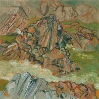 """Umpachene III, gouache, 11 3/4 x 11 3/4 """", 2015"""