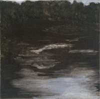 "Cannon River Night I, monotype, 7 3/4 x 7 3/4"", 2003"