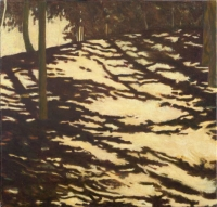 "Red Wing Shadows I, oil on linen, 22 x 23"", 2005"