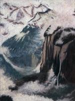"Staubbachfall II, pastel, 30 x 22 1/2"", 2010"
