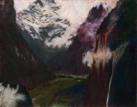 "Staubbachfall IV, pastel, 22 1/2 x 30"", 2010"