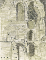 """Ancient Wall, Foro Romano, ink, 11 1/2 x 9"""", 2017"""