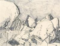 "Boulders, Joshua Tree, ink, 9 x 11 1/2"", 2016"