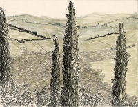 "CampagnaToscana, Italia, ink, 9 x 11 1/2"", 2017"