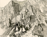 "Chisos Mountains, Big Bend, ink, 9 x 11 1/2"", 2017"