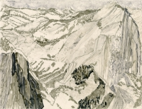 "Half Dome, Yosemite, ink, 9 x 11 1/2"", 2016"