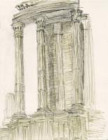 """Tempio da Vesta, Foro Romano, ink, 11 1/2 x 9"""", 2017"""