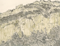 "Dorgali, Sardegna, ink, 9 x 11 1/2"", 2017"
