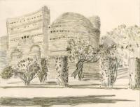 """Villa Adriana, near Tivoli, ink, 9 x 11 1/2"""", 2017"""