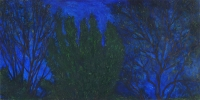 "Ellis Hollow Night I, oil on panel, 12 x 24"", 2002"