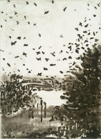 "Gathering the Flock, Jamaica Bay, etching, 8 x 6"", 2000"
